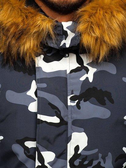 Grafitová maskáčová pánska zimná bunda Bolf 2019M