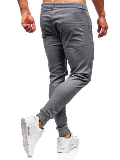 Grafitové pánske kapsáčové joggery Bolf 1003