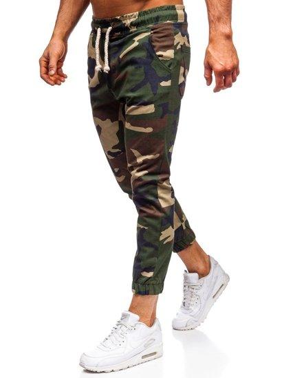 Hnedé maskáčové pánske joggery Bolf 0367
