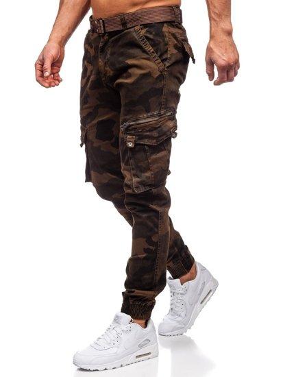 Hnedé maskáčové pánske kapsáčové joggery s opaskom Bolf CT6013