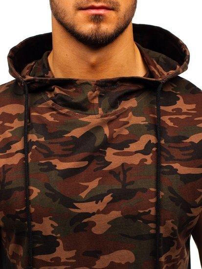 Hnedé maskáčové pánske tielko s kapucňou BOLF 308