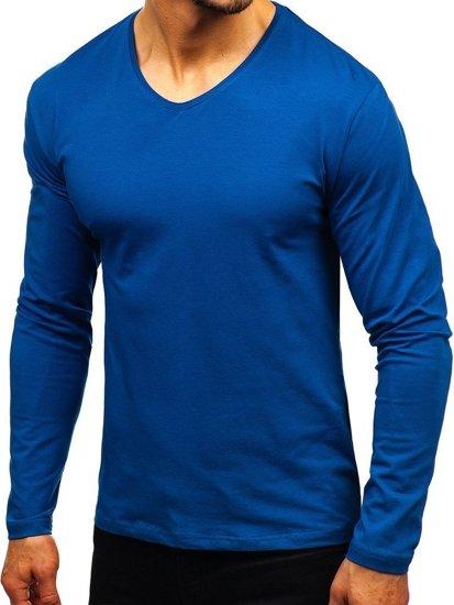 Indigo pánske tričko s dlhými rukávmi bez potlače BOLF 172008