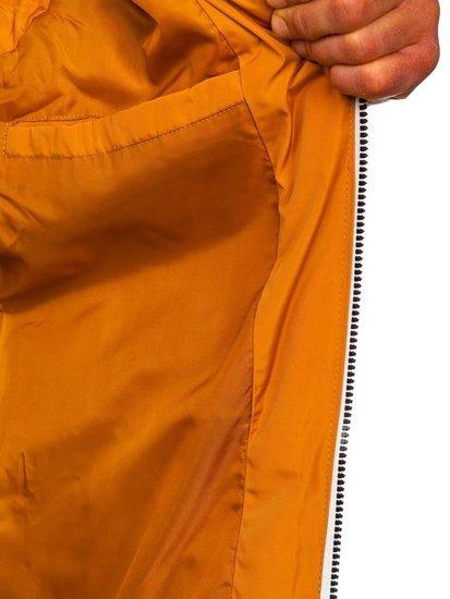 Kamelová pánska prešívaná vesta s kapucňou Bolf 5898