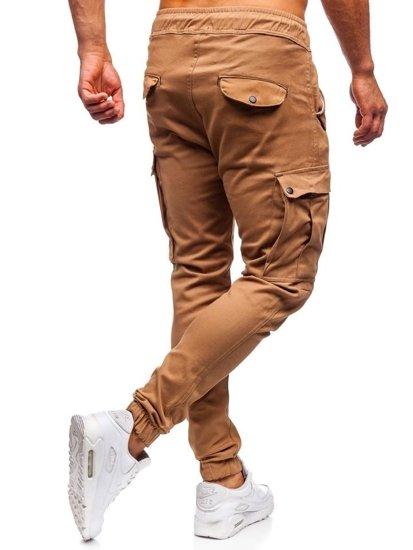 Kamelové pánske kapsáčové joggery Bolf 1005