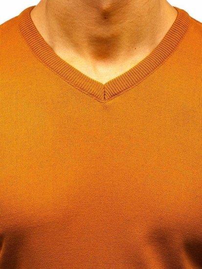 Kamelový pánsky sveter s výstrihom do V BOLF 220