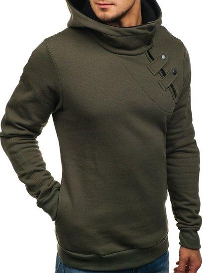 Khaki pánska mikina s kapucňou BOLF 06S