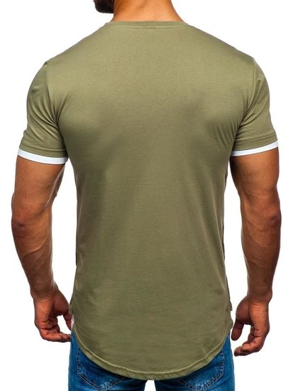 Khaki pánske tričko bez potlače Bolf 10999