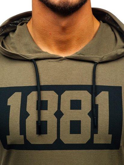 Khaki pánske tričko bez rukávov s potlačou a kapucňou BOLF 1281