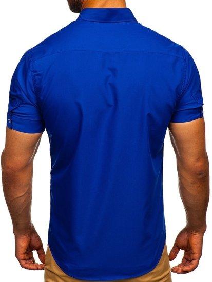 Kráľovský modrá pánska elegantá košeľa s krátkymi rukávmi BOLF 5535