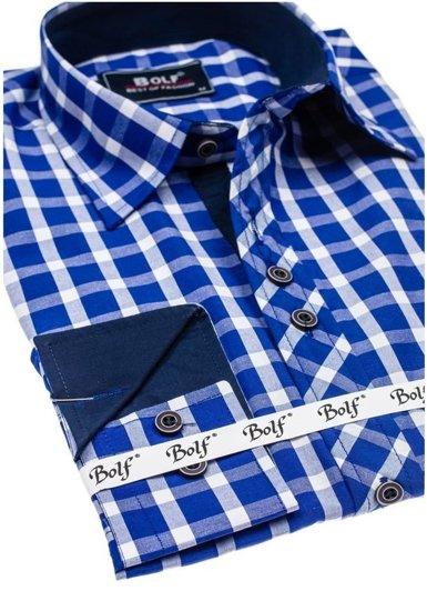 Kráľovský modrá pánska elegantná károvaná košeľa s dlhými rukávmi BOLF 4747
