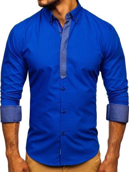 Kráľovsky modrá pánska elegantná košeľa s dlhými rukávmi BOLF 3725