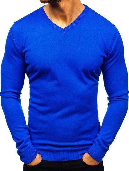 Kraľovský modrý pánsky sveter s výstrihom do V BOLF 2200