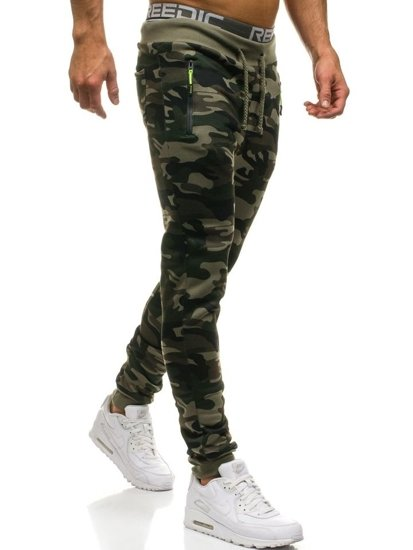 Maskáčovo-zelené pánske teplákové joggery BOLF JX8121