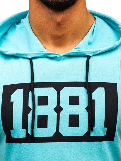 Mätové pánske tričko bez rukávov s potlačou a kapucňou BOLF 1281