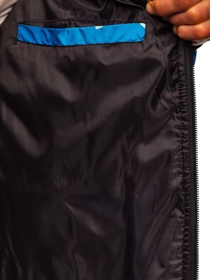 Modrá maskáčová pánska športová prechodná bunda Bolf MY21M
