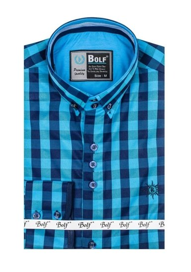Modrá pánska károvaná košeľa s dlhými rukávmi BOLF 5816-A