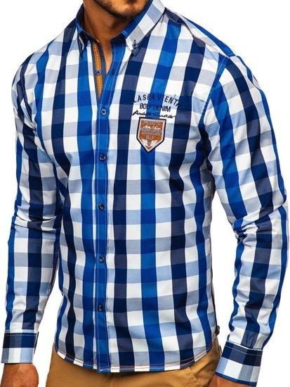 Modrá pánska károvaná košeľa s dlhými rukávmi  Bolf 1766-1