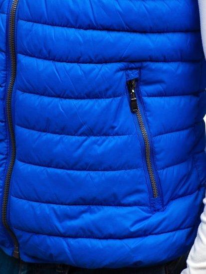 Modrá pánska obojstranná vesta s kapucňou BOLF 1251