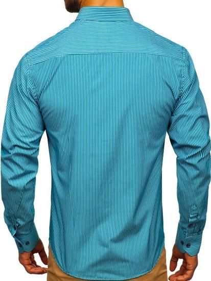 Modrá pánska prúžkovaná košeľa s dlhými rukávmi Bolf 9714