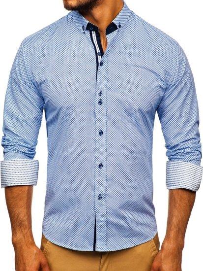 Modrá pánska vzorovaná košeľa s dlhými rukávmi Bolf 9710