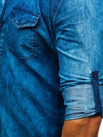 Modrá pánska vzorovaná riflová košeľa s dlhými rukávmi BOLF 0517