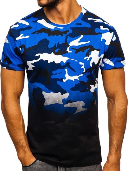Modré maskáčové pánske tričko s potlačou Bolf S808