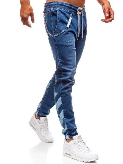 Modré pánske riflové baggy nohavice BOLF 2040