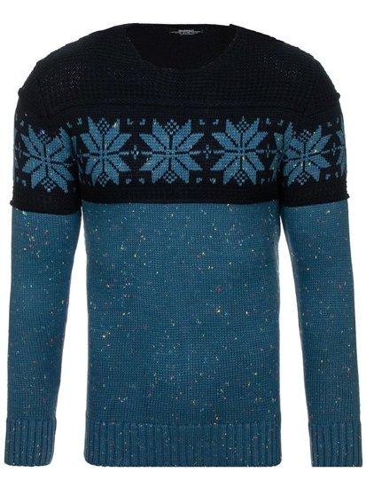 Modro-tmavomodrý pánsky vzorovaný sveter BOLF 1563