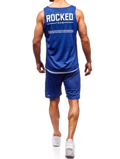 Modrý pánsky komplet: tričko + kraťasy  BOLF 100780