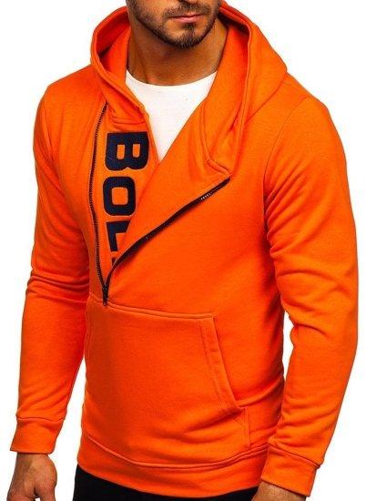 Oranžová pánska mikina s kapucňou a potlačou Bolf 01