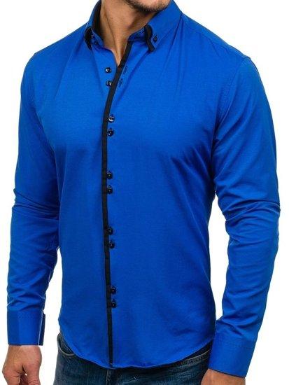 Pánska košeľa BOLF 1721 kráľovsky modro-čierna
