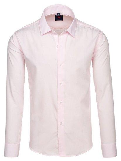 Ružová pánska elegantá košeľa s dlhými rukávmi BOLF TS100
