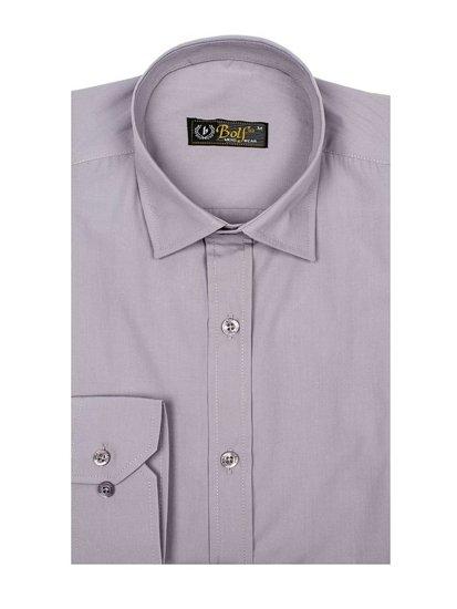 Šedá pánska elegantá košeľa s dlhými rukávmi BOLF 1703