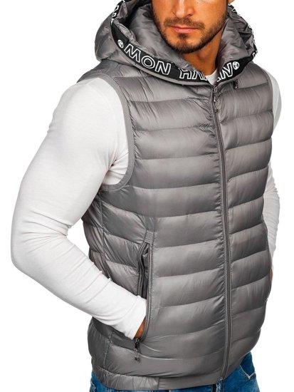 Šedá pánska prešívaná vesta s kapucňou Bolf 5931