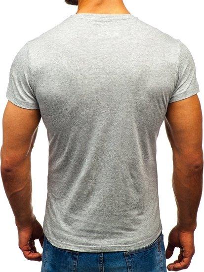 Šedé pánske tričko bez potlače BOLF S02