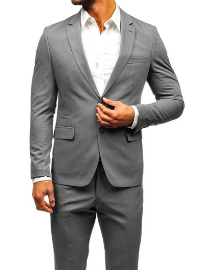 Šedo-tmavmodrý pánsky oblek BOLF 19200