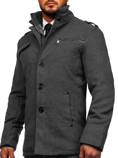 Šedý pánsky kabát BOLF 8856