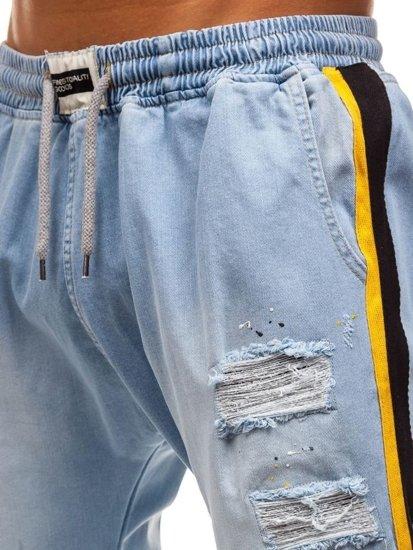 Svetlomodré pánske riflové baggy nohavice BOLF 2041