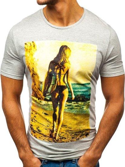 Svetlošedé pánske tričko s potlačou BOLF 7434