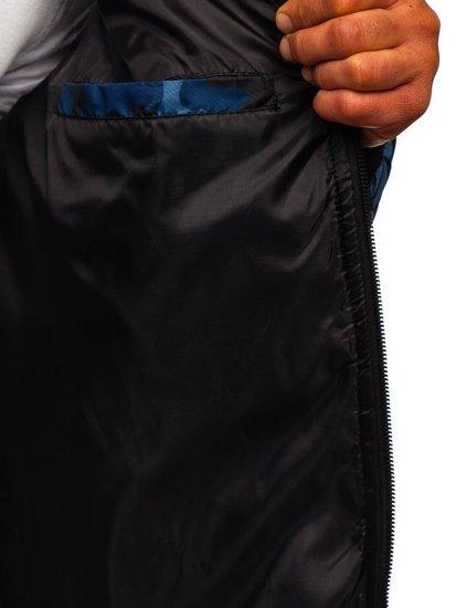 Tmavomodrá maskáčová pánska športová prechodná bunda Bolf MY21M