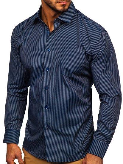 Tmavomodrá pánska elegantná prúžkovaná košeľa s dlhými rukávmi Bolf NDT10