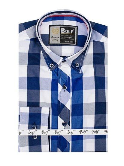 Tmavomodrá pánska kockovaná košeľa s dlhými rukávmi BOLF 4791