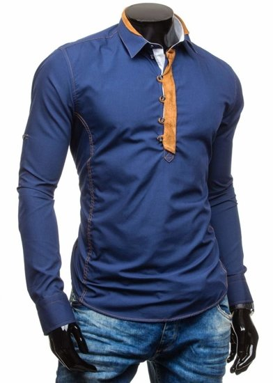 Tmavomodrá pánska košeľa s dlhými rukávmi BOLF 5783