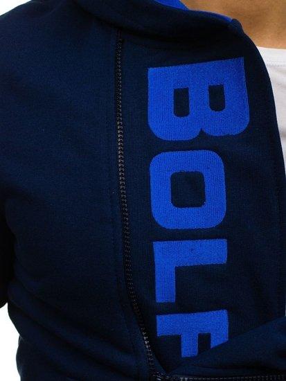 Tmavomodrá pánska mikina s kapucňou a potlačou BOLF 01S