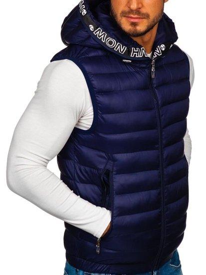Tmavomodrá pánska prešívaná vesta s kapucňou Bolf 5931