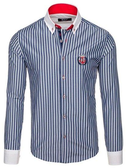 Tmavomodrá pánska prúžkovaná košeľa s dlhými rukávmi BOLF 1771