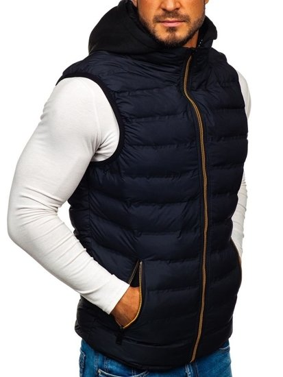 Tmavomodrá pánska vesta s kapucňou BOLF 5802