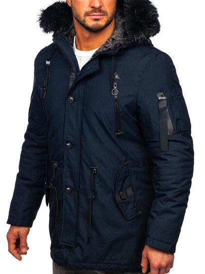 Tmavomodrá pánska zimná bunda parka BOLF 1068