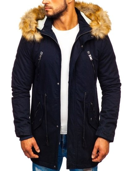 Tmavomodrá pánska zimná bunda parka Bolf JK391