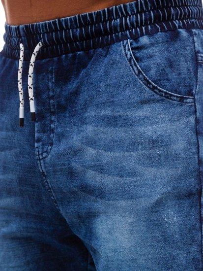 Tmavomodré pánske riflové kraťasy BOLF KK111